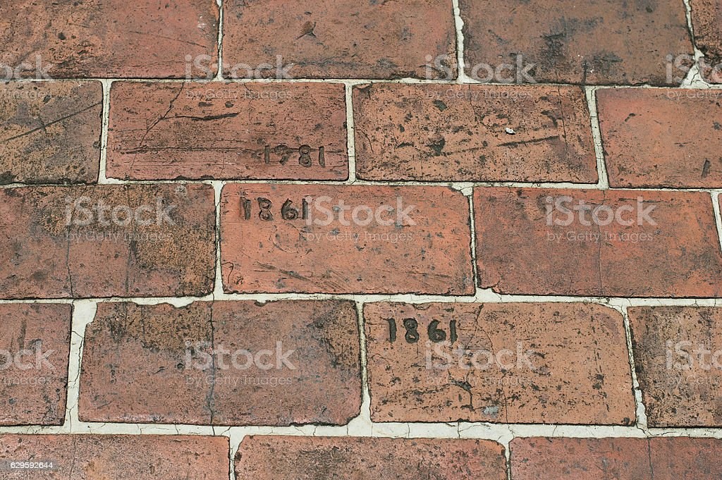 Brick Walkway Etched With Year 1861 and 1981 stock photo