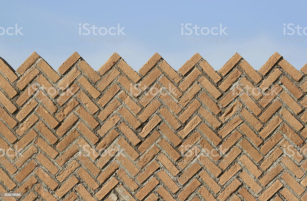 Brick Wall against a blue sky in Italy royalty-free stock photo