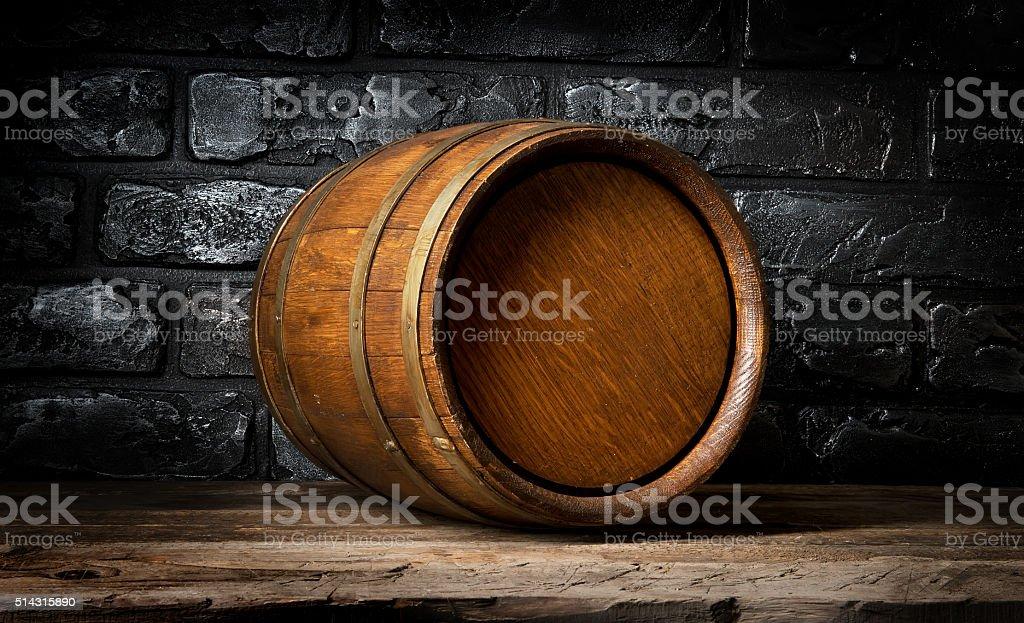 Brick wall and barrel stock photo
