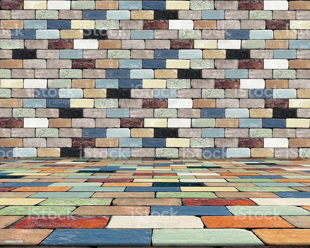 Brick wall and Brick floor. Colorful abstract. royalty-free stock photo