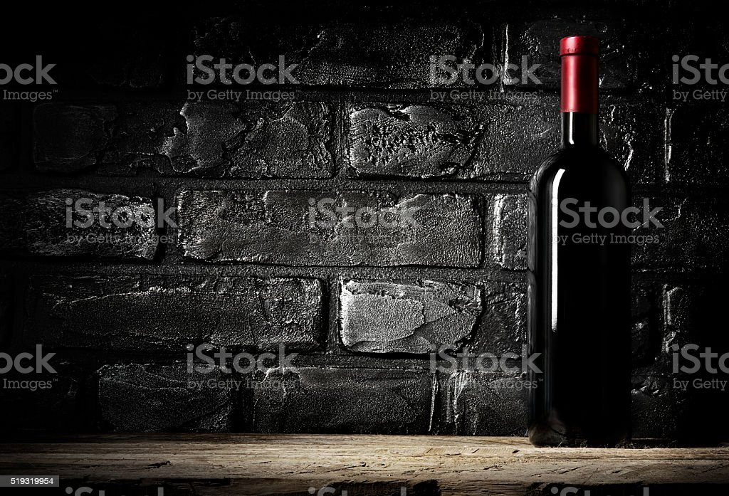 Brick wall and cabernet stock photo