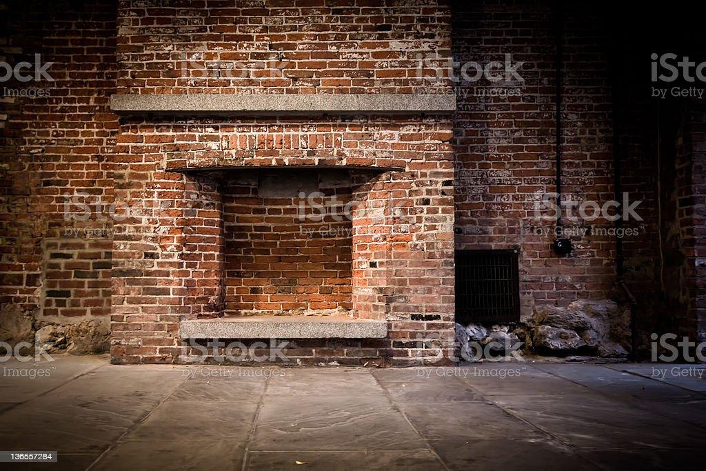 Brick wall and fireplace stock photo