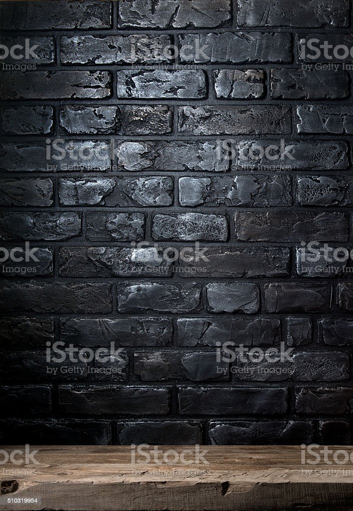 Brick wall and table stock photo