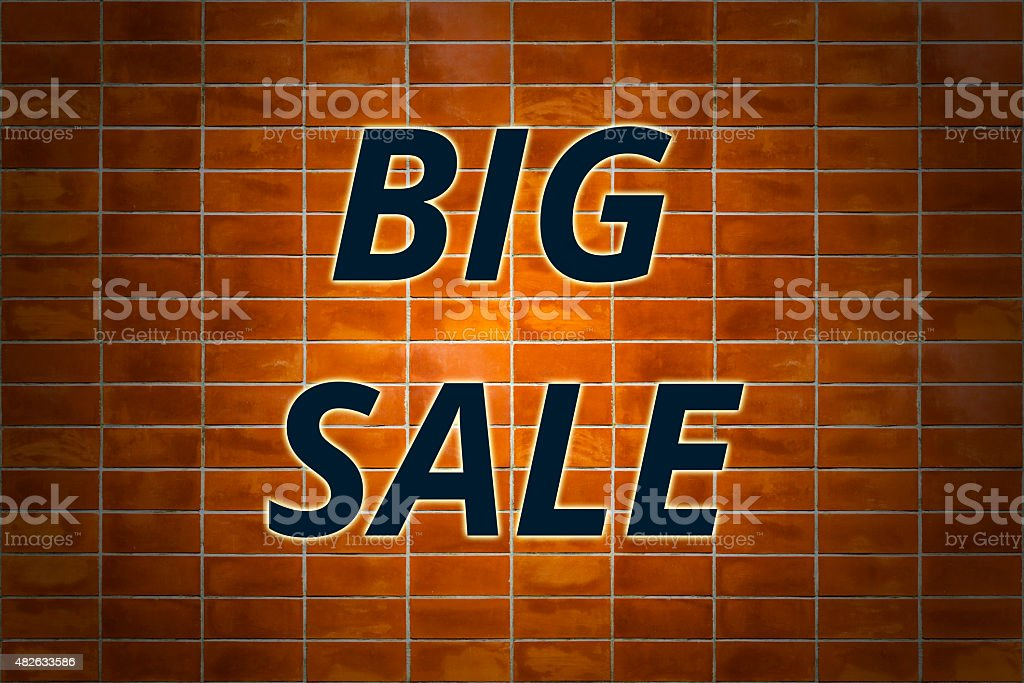 Brick wall and Word 'BIG SALE' royalty-free stock photo