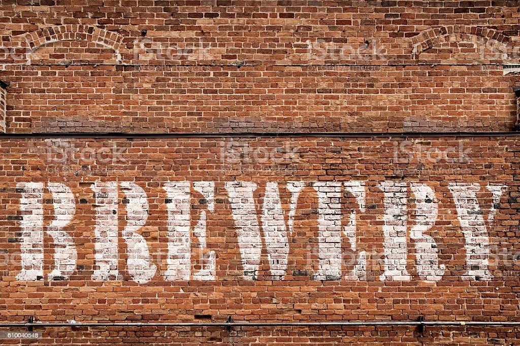 Brick Wall Brewery Sign stock photo