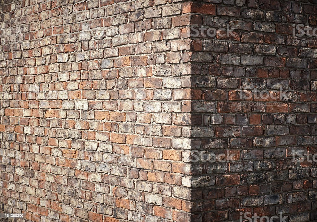 Brick Wall Corner Detail stock photo