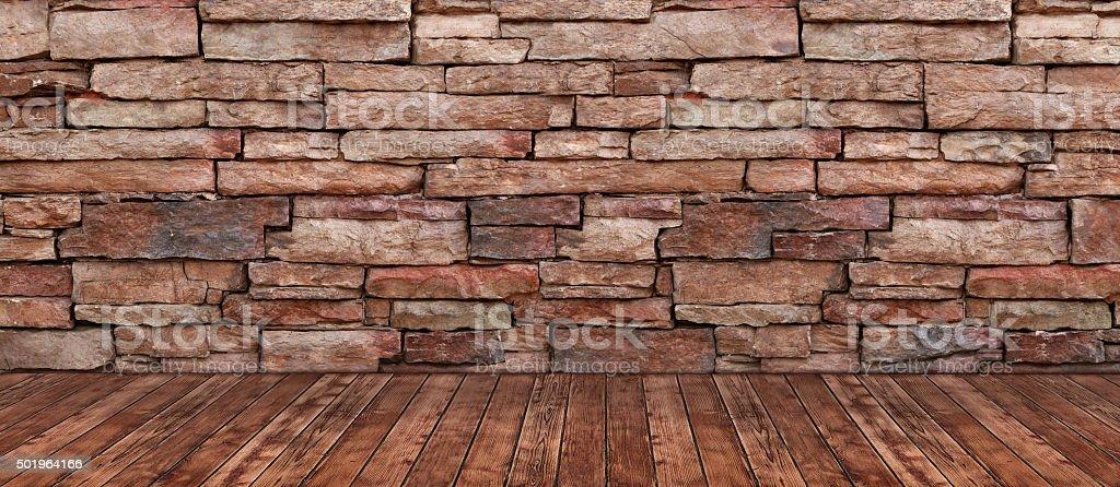 Brick Wall Hardwood Floor Background stock photo