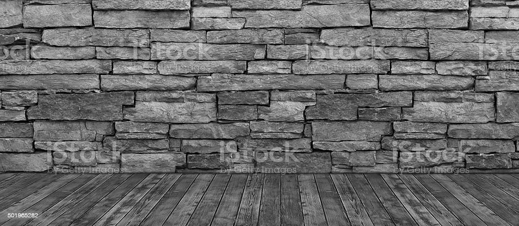 Brick Wall Hardwood Floor Black and White Background stock photo