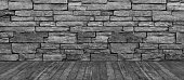 Brick Wall Hardwood Floor Black and White Background