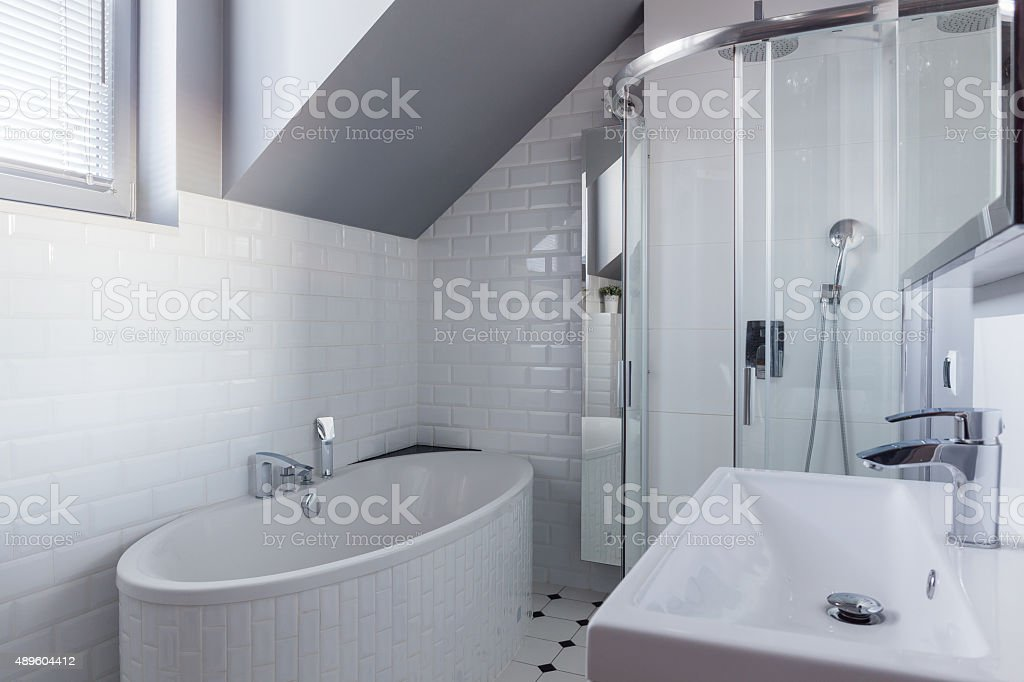 Brick wall in luxury bathroom stock photo