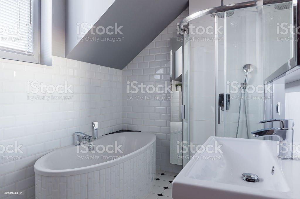 Brick wall in luxury bathroom stock photo