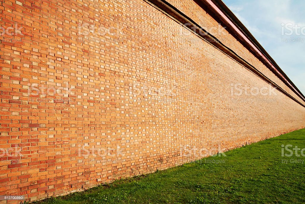 Brick wall in perspective stock photo