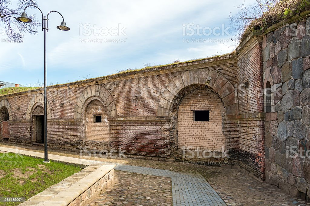 Brick wall of old abandoned bastion in Daugavpils town, Latvia stock photo