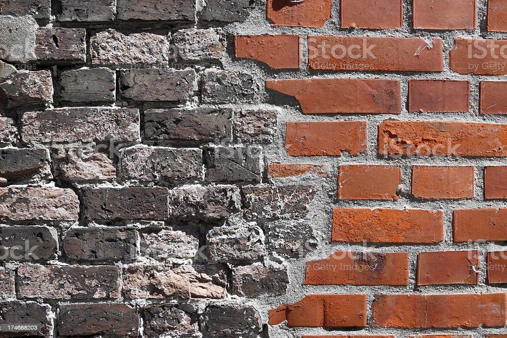 Brick Wall Old/ New stock photo