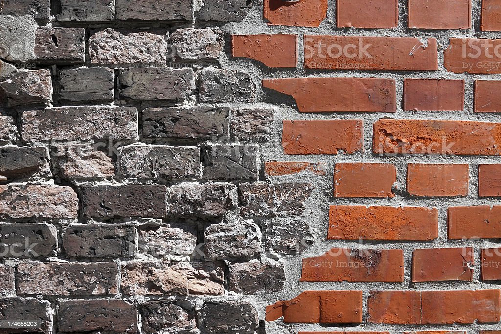Brick Wall Old/ New stock photo