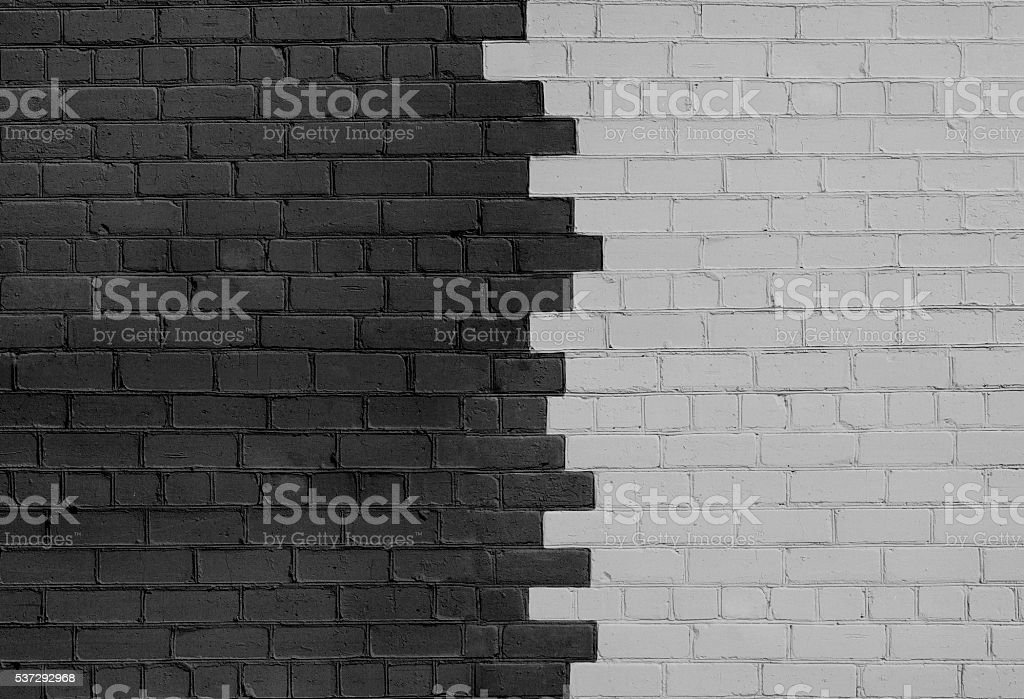 Brick Wall Parted on Dark and Light Sides stock photo