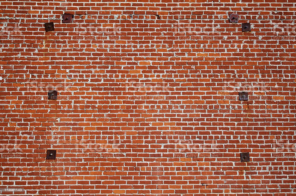 Brick wall steel support stock photo