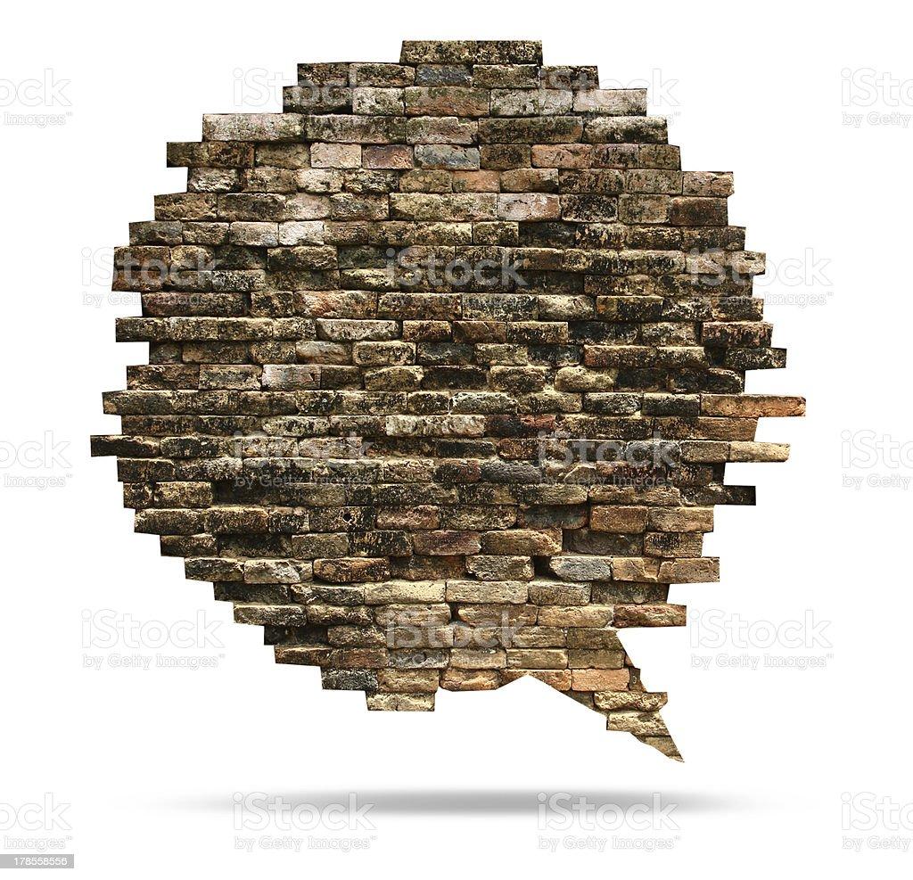 Brick wall texture of speech bubble background royalty-free stock photo