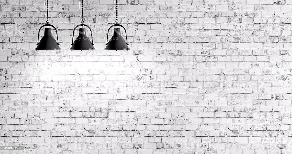 Brick wall with lamps background stock photo