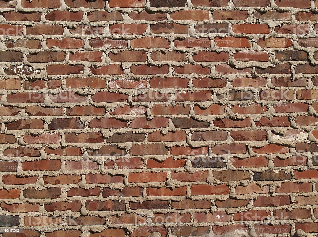 Brick Wall With Mortar Oozing From the Cracks stock photo
