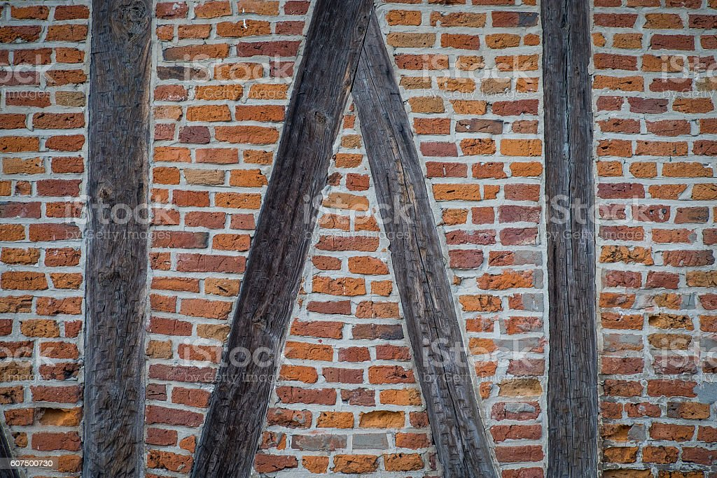 Brick Wall with Timber Framing stock photo