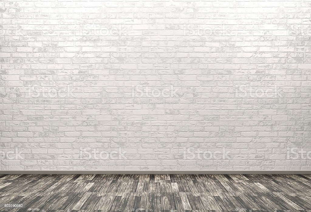 Brick wall, wooden floor background 3d render stock photo
