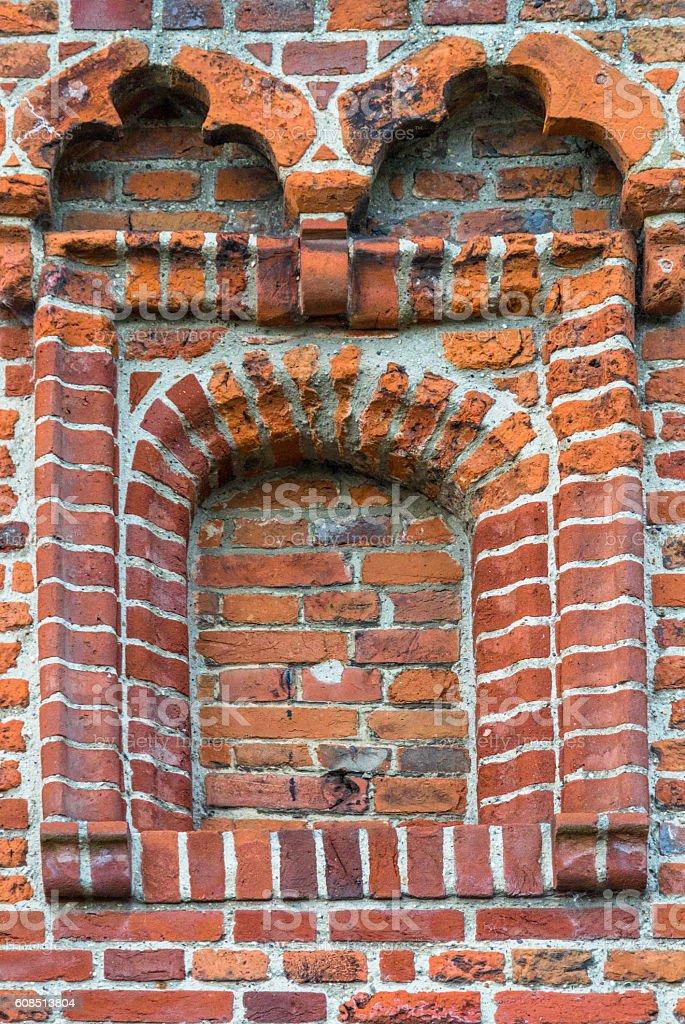 Bricked up window at church stock photo