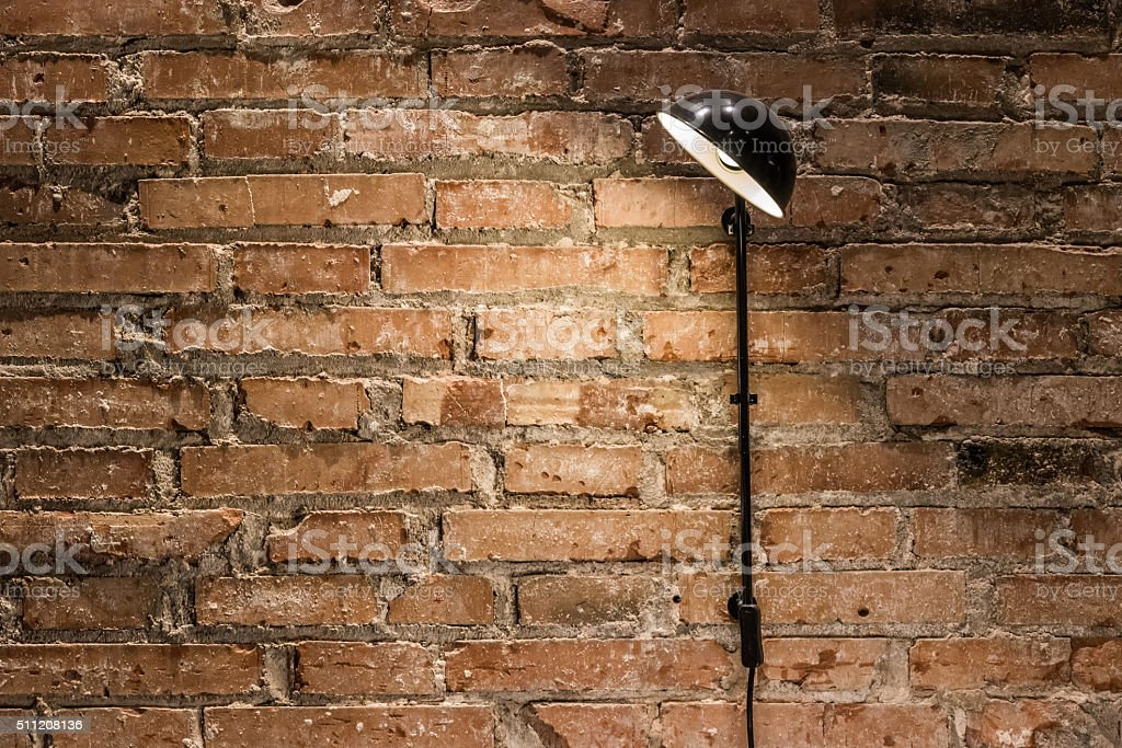 Bricked Wall and a Lamp stock photo