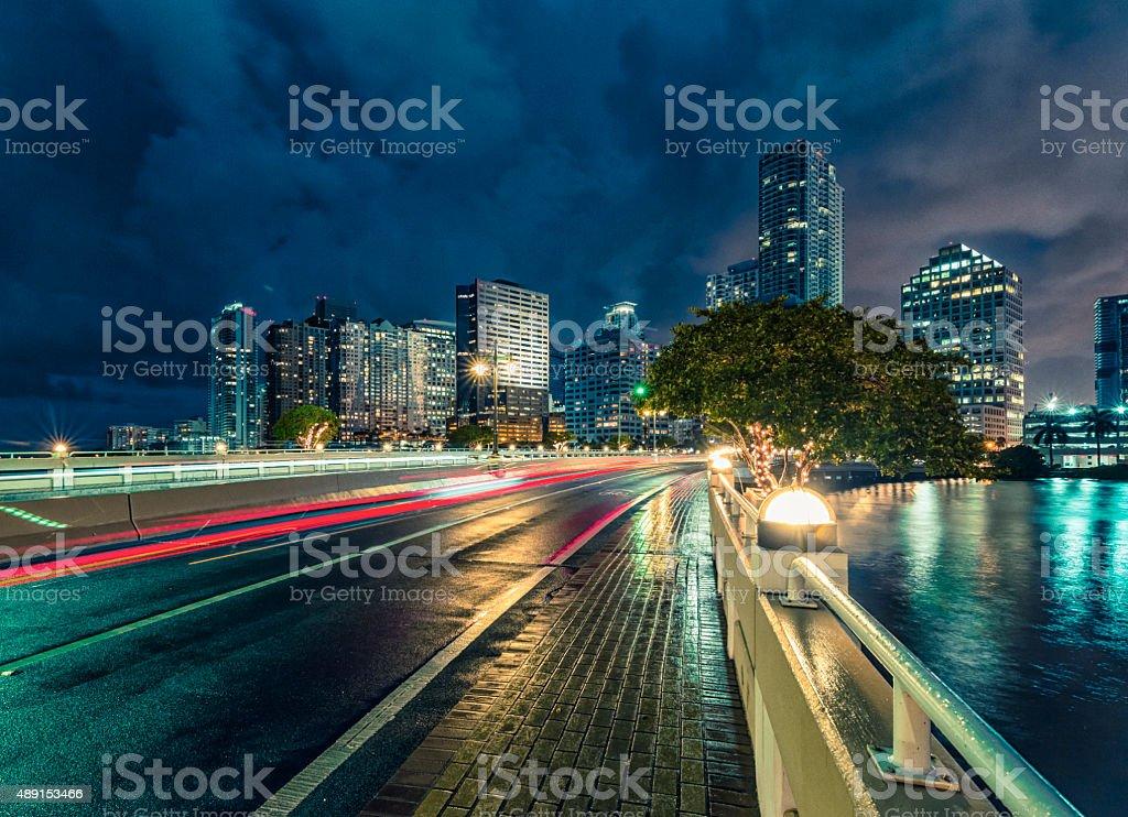 Brickell - Miami at Night stock photo