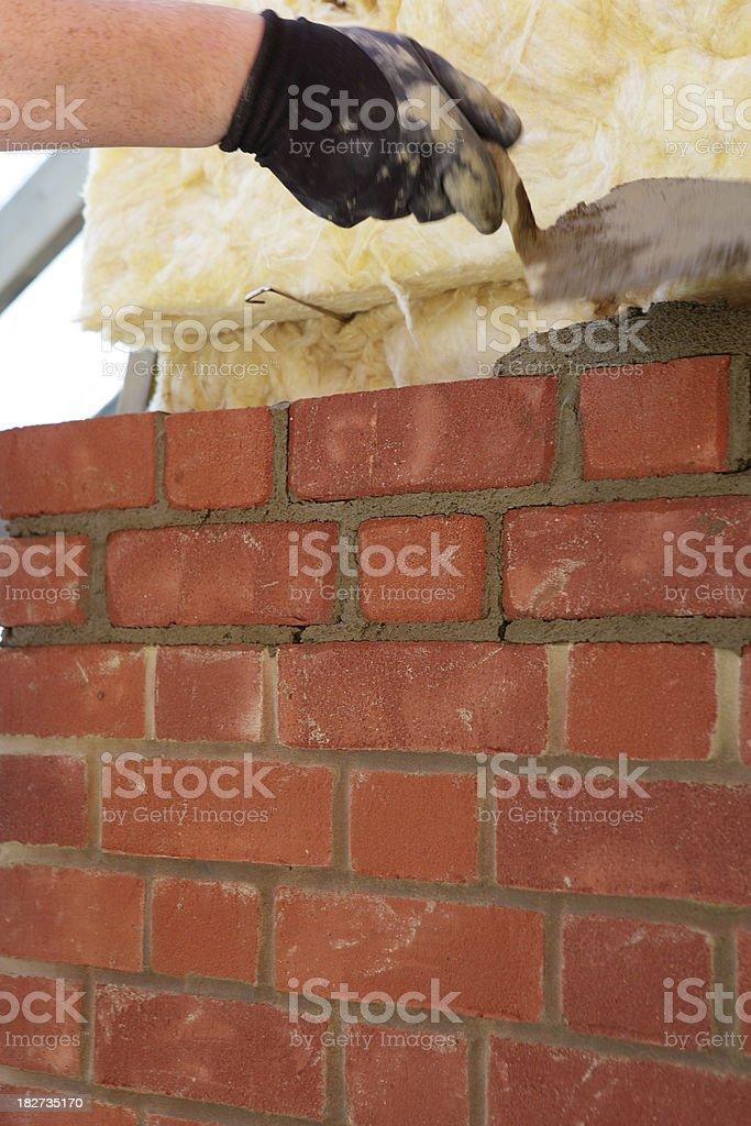 Bricklayer Laying Bricks stock photo