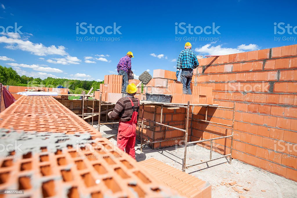 Bricklayers stock photo