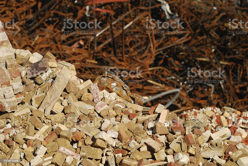 Bricks and Twisted Steel royalty-free stock photo