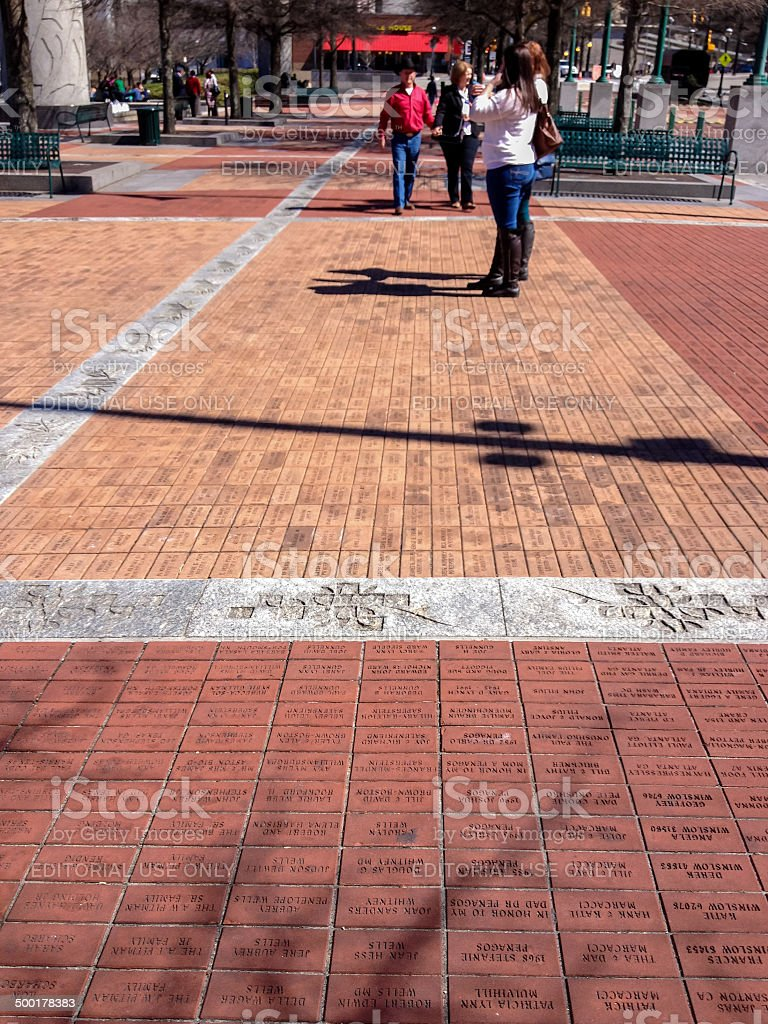 Bricks engraved with short messages of donors stock photo