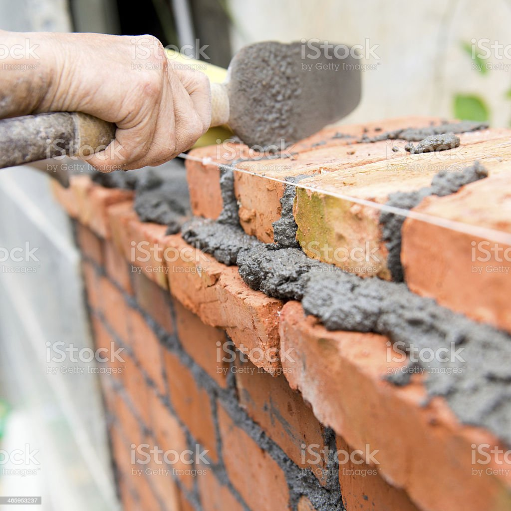 bricks laying stock photo