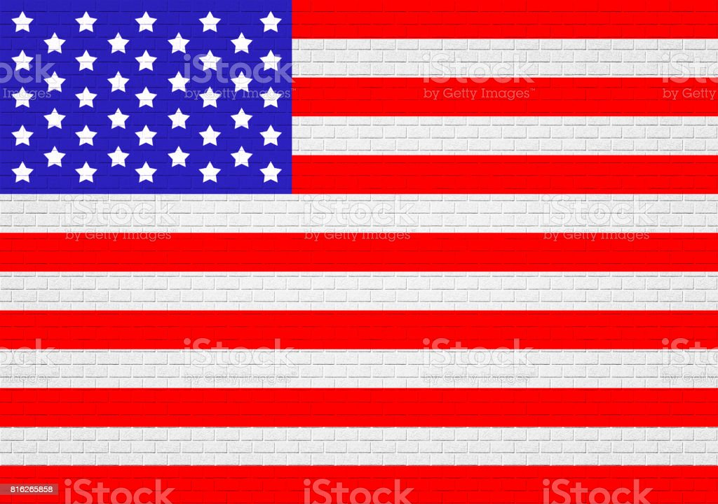 Brickstone wall texture Labor Day, high resolution, USA national colors, stars and stripes. stock photo