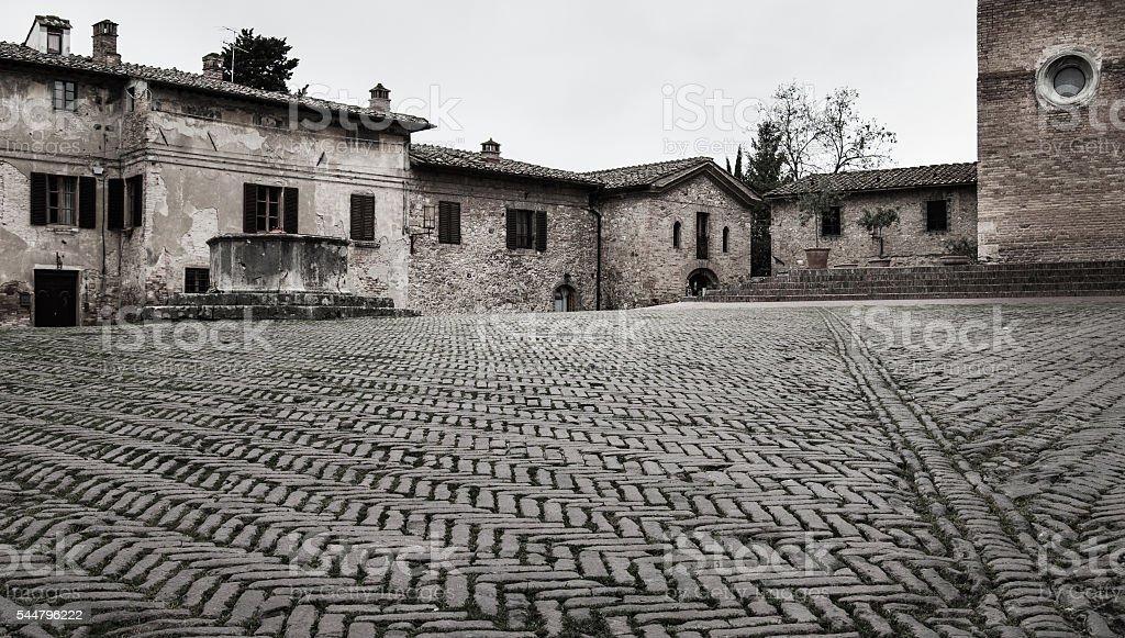 Brics in Sant'agostino square in San Gimignano stock photo