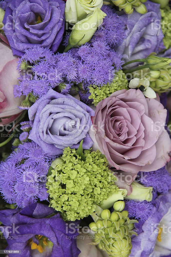 Bridal arrangement in different shades of purple royalty-free stock photo