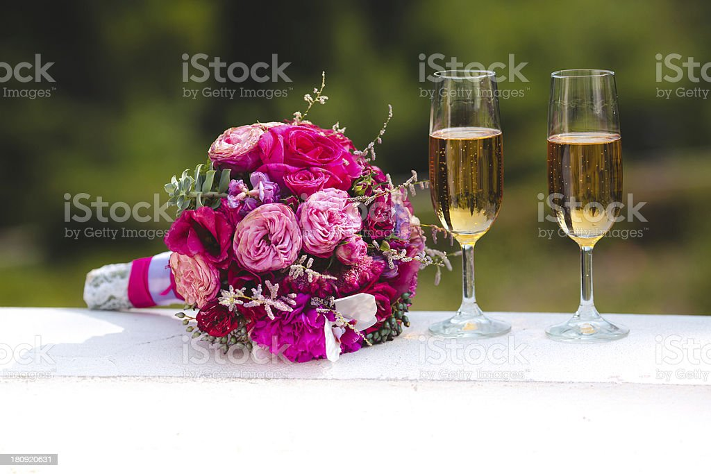 Bridal bouquet and glasses royalty-free stock photo
