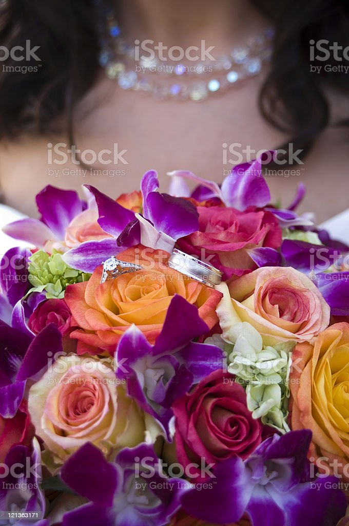 Bridal Bouquet and Rings stock photo