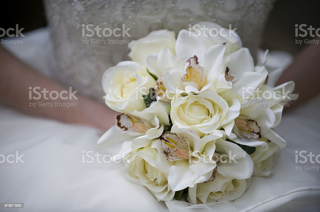 Bridal Bouquet of Cream Colored Flowers royalty-free stock photo