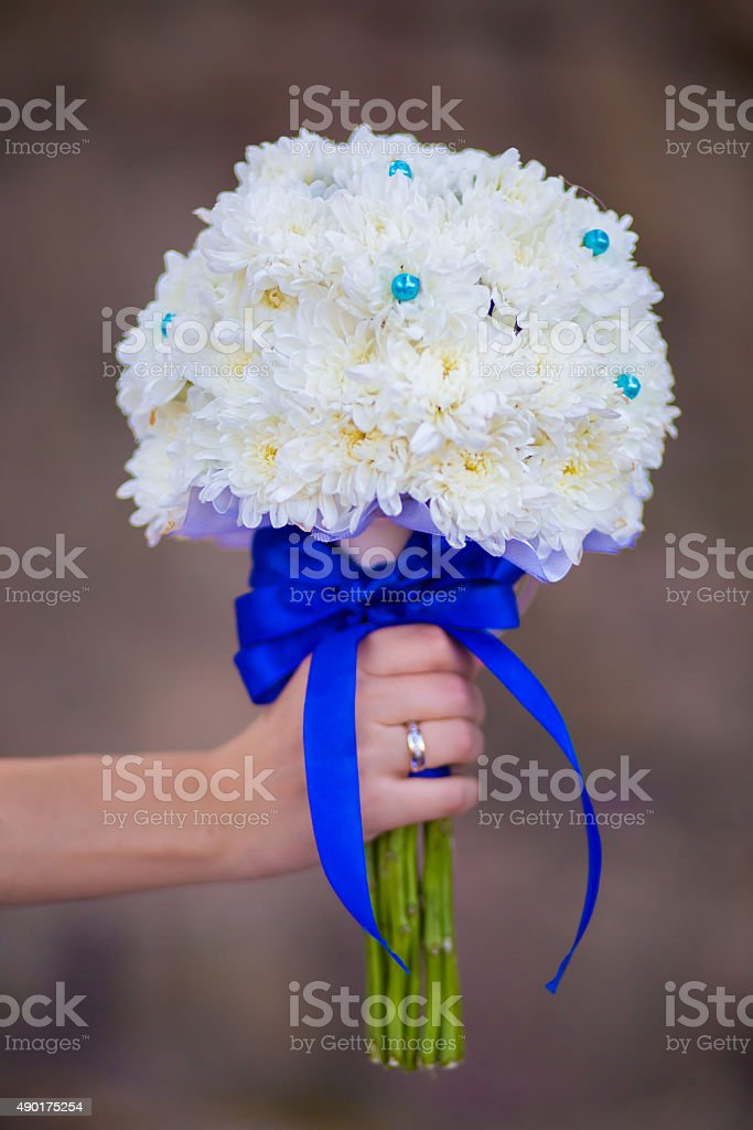 Bridal bouquet of white flowers stock photo