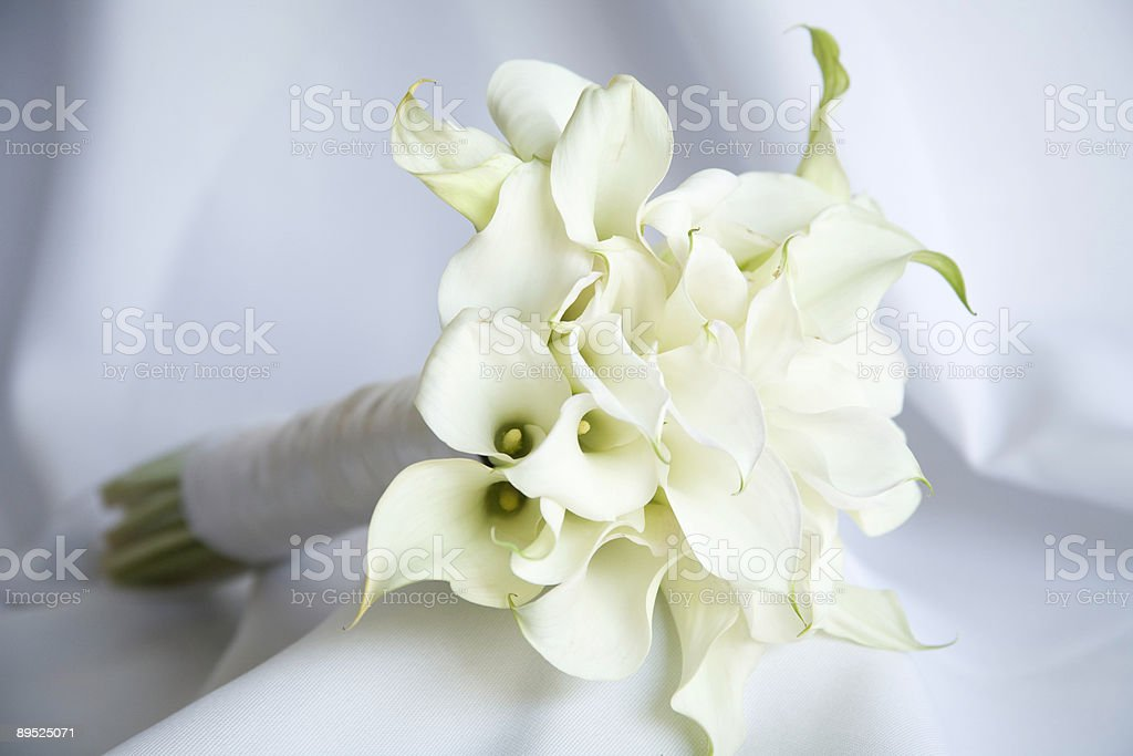 Bridal bouquet still life on white linen royalty-free stock photo