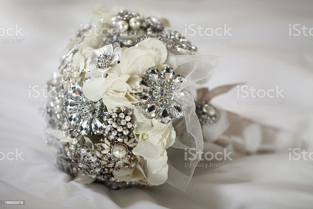 Bridal brooch bouquet stock photo