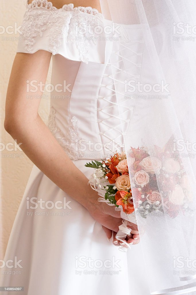 Bridal bunch and lace royalty-free stock photo
