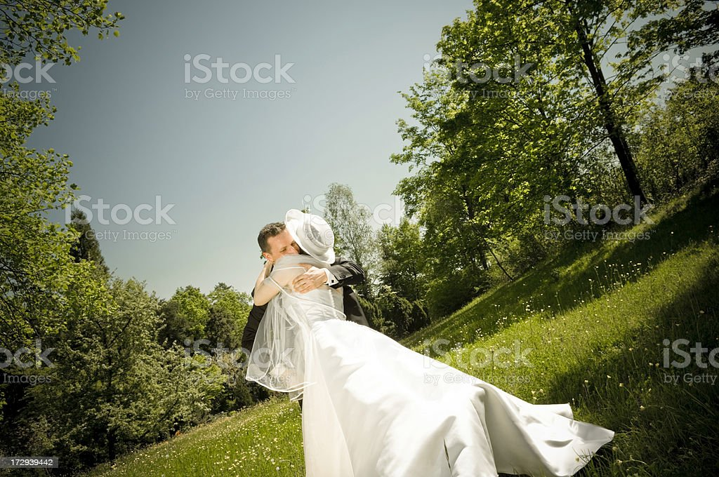 Bridal Couple Embrace royalty-free stock photo