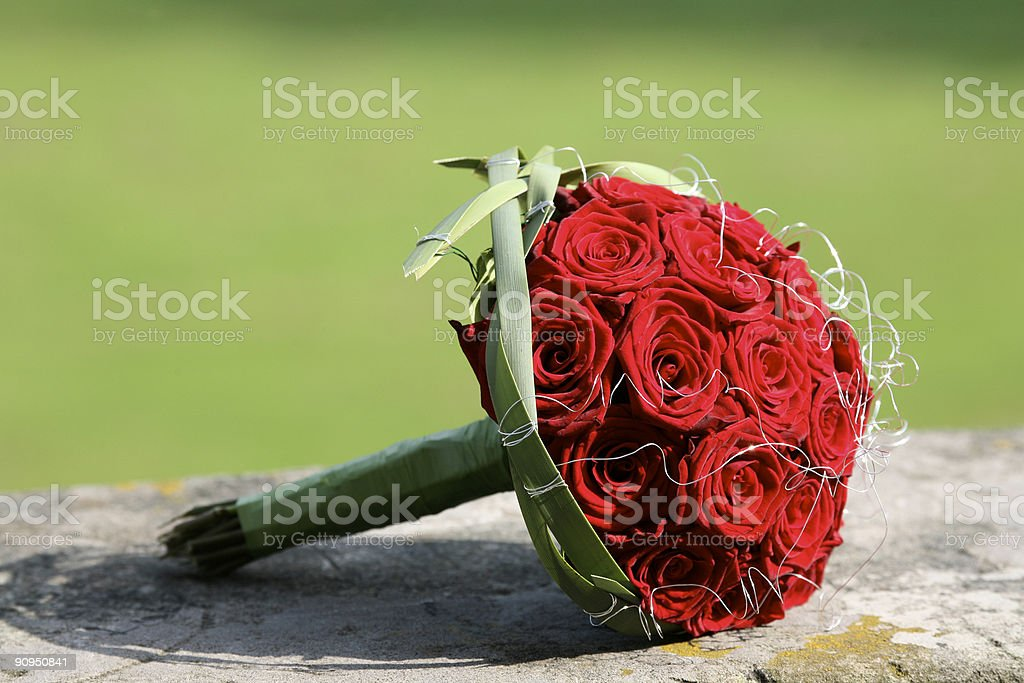 Bridal flower bouquet red roses royalty-free stock photo