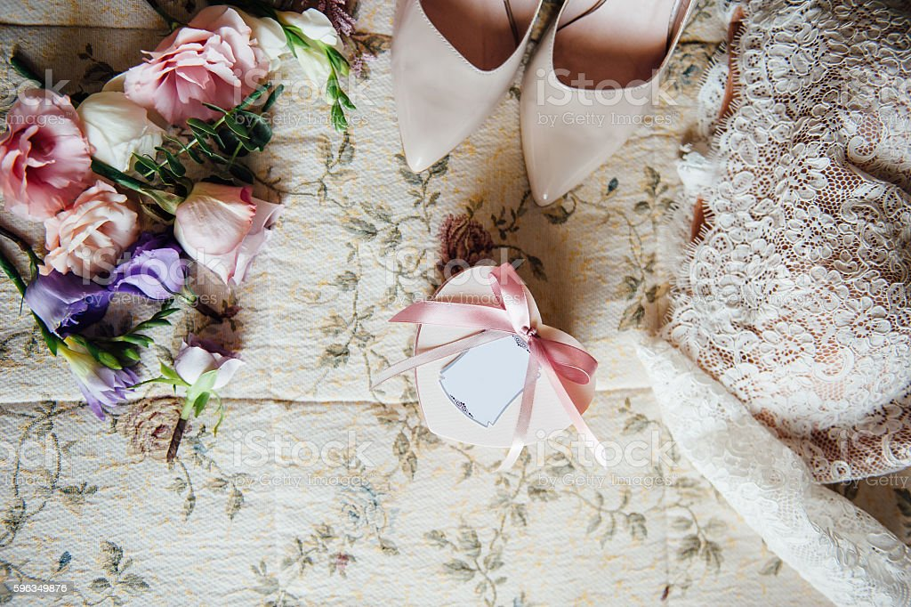 bridal garter with other details stock photo