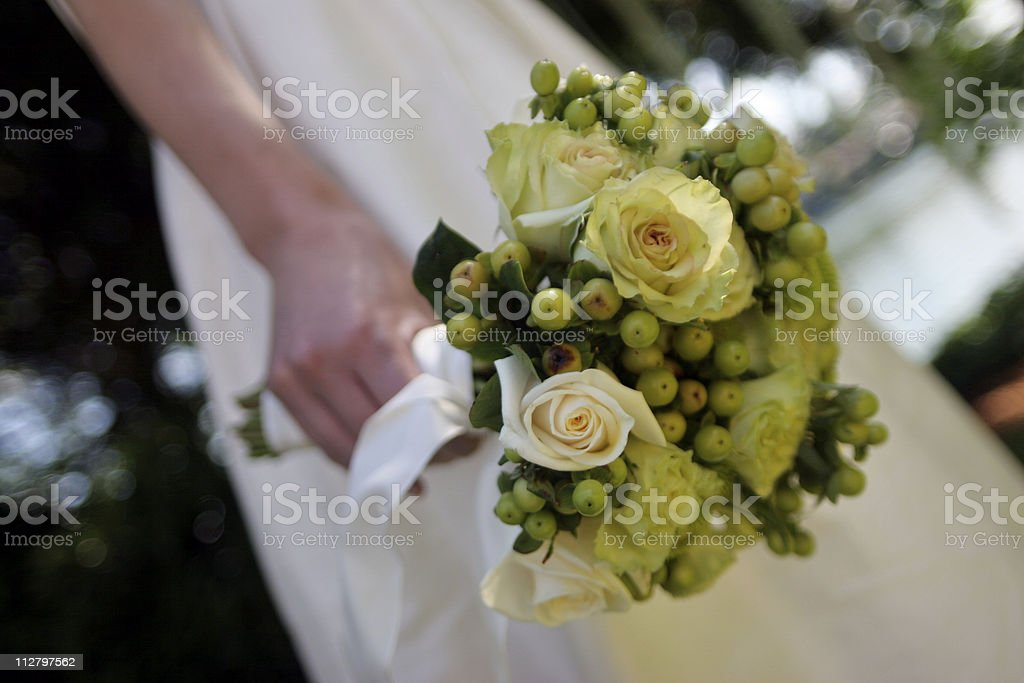 Bridal Greenish Bouquet at Waist Hand Held royalty-free stock photo