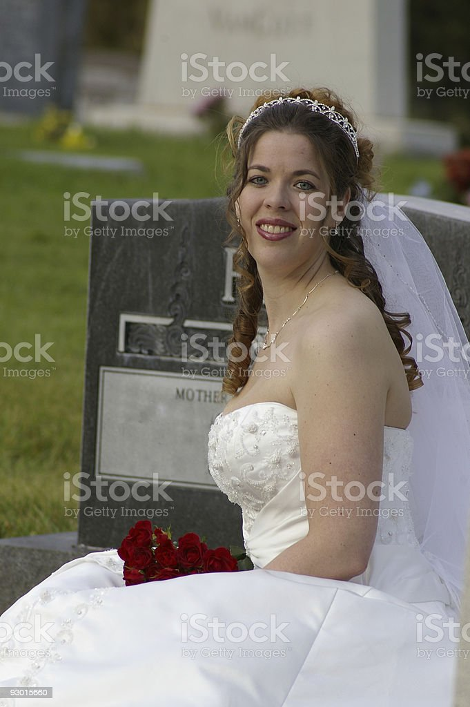 bridal in a cemetery stock photo