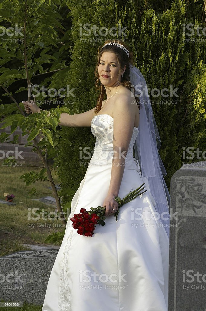 bridal in a cemetery5 stock photo